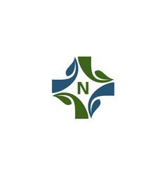 Medical herbal initial n vector