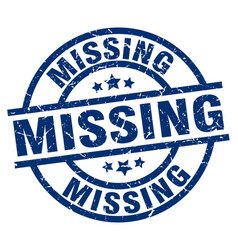 missing blue round grunge stamp vector image
