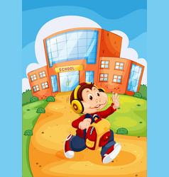 Monkey running from school vector