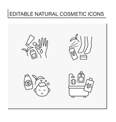 Natural cosmetic line icons set vector