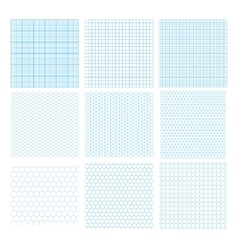Nine cyan geometric grids seamless patterns vector image