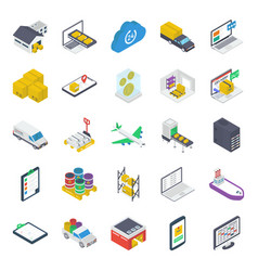 Pack warehouse isometric icons vector