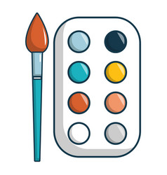 paint palette icon cartoon style vector image