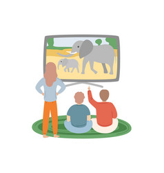 People watching discovery channel animals vector