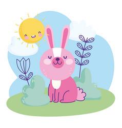pink little rabbit sitting grass sky nature vector image