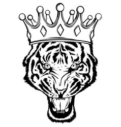 Portrait a tiger with a golden crown on his vector