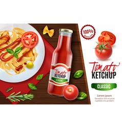 realistic tomato ketchup advertising vector image