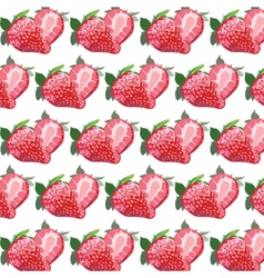 Red strawberry pattern in watercolor vector