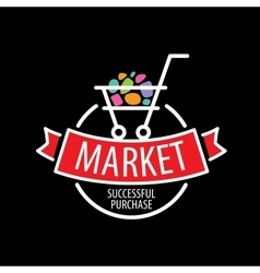 Round logo shopping cart vector