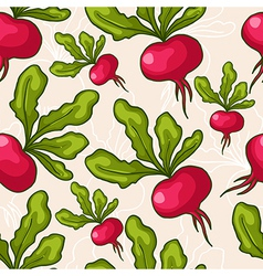 Seamless hand drawn radish background vector image