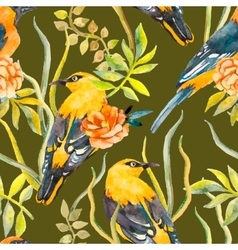 Seamless pattern of birds and plants Bird pattern vector image