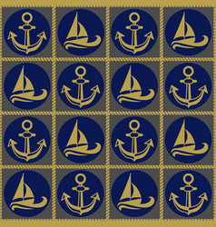 seamless pattern with ropes anchors and boats vector image