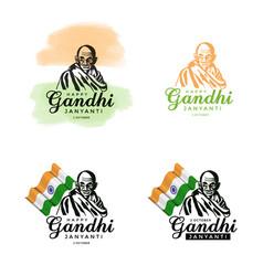 Set of gandhi jayanti 2nd october design vector