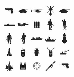 Set of the military combat vehicle plane and boats vector