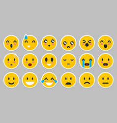 set yellow emoticons isolated smile face vector image