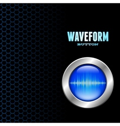 Silver button with sound wave sign vector image