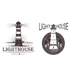 Sketch of lighthouse at port or beacon vector