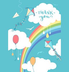 sky thank you card vector image