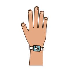 smartwatch on wrist vector image
