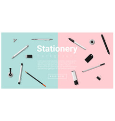 Stationery accessories on colorful background vector
