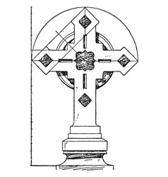 Steeple cross building vintage engraving vector