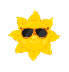sun with sunglasses on white background vector image