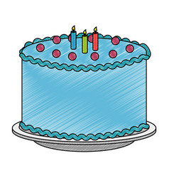 Sweet and delicious cake with candles vector