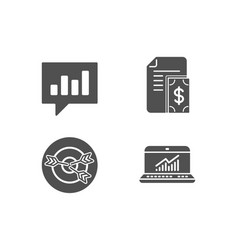 Targeting analytical chat and payment icons vector