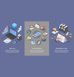 Taxes accounting money banner set isometric style vector
