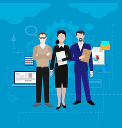 Teamwork set with business process vector