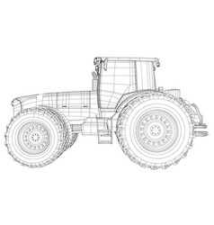 tractor side view wire-frame tracing vector image