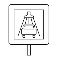 Traffic sign car wash icon outline style vector