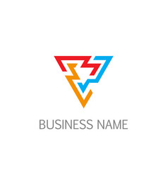 triangle line colorful business company logo vector image