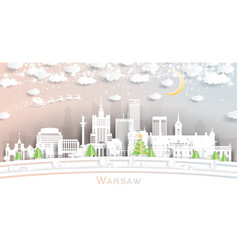 warsaw poland city skyline in paper cut style vector image