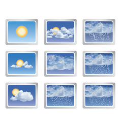 weather report icon set sun with clouds buttons vector image