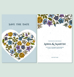 wedding invitation card with colored bellflower vector image