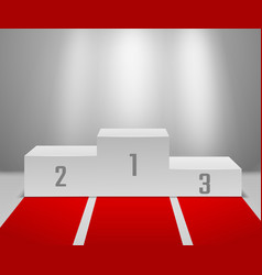 Winners podium with red carpet empty white vector