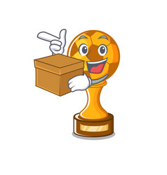 With box soccer trophy with mascot shape vector