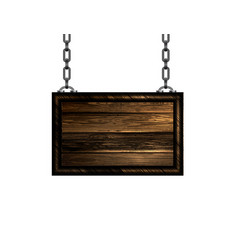 wooden sign with chain vector image