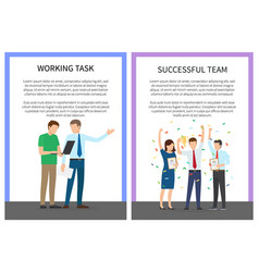 Working task and successful team colorful poster vector