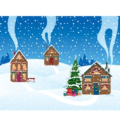 christmas in the village vector image vector image
