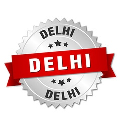 Delhi round silver badge with red ribbon vector image vector image