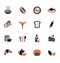 food and kitchen icon set vector image vector image