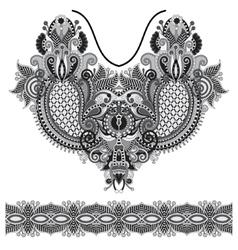 Neckline grey embroidery fashion vector image vector image