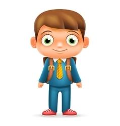 Realistic School Boy Child Cartoon Education vector image