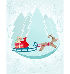 Reindeer pulling a sleigh with Christmas gifts vector image vector image