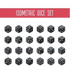 set of black isometric dice vector image vector image