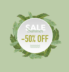 summer sale tropical palms banner vector image vector image