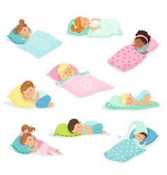 adorable little boys and girls sleeping sweetly in vector image