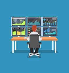 businessman or stock market trader working at desk vector image